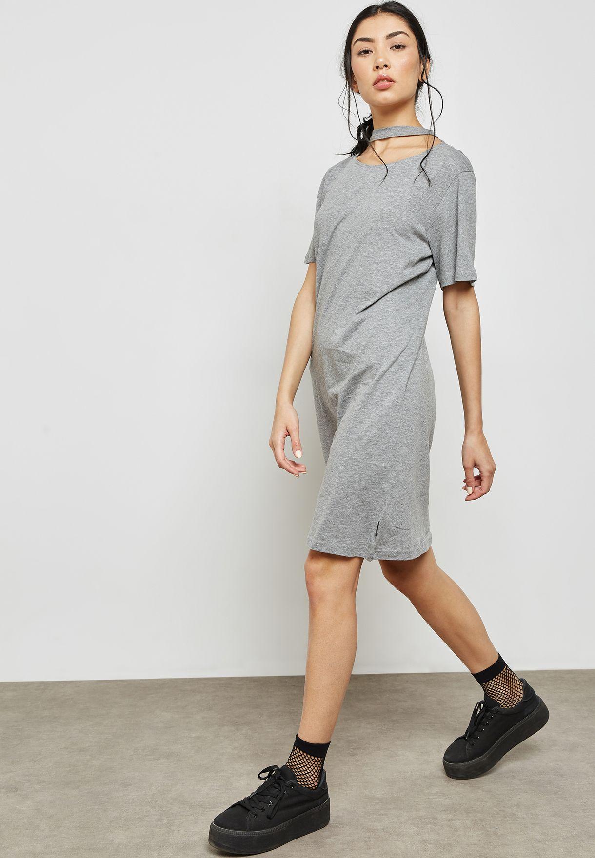 Cut Out Neck T-Shirt Dress
