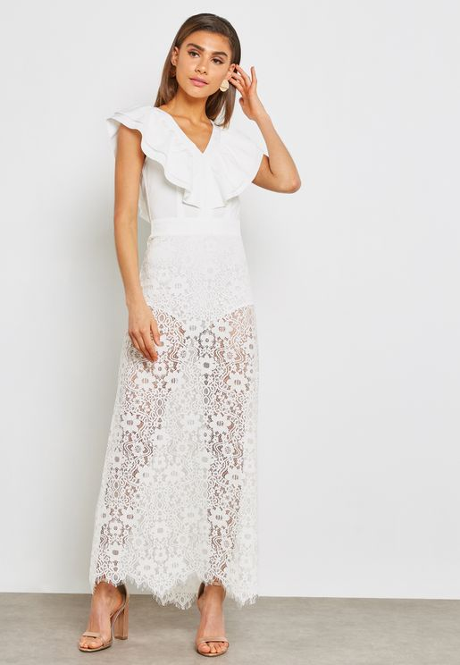 Ruffle Lace Maxi Dress
