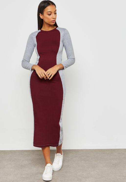 Colourblock Bodycon Midi Dress