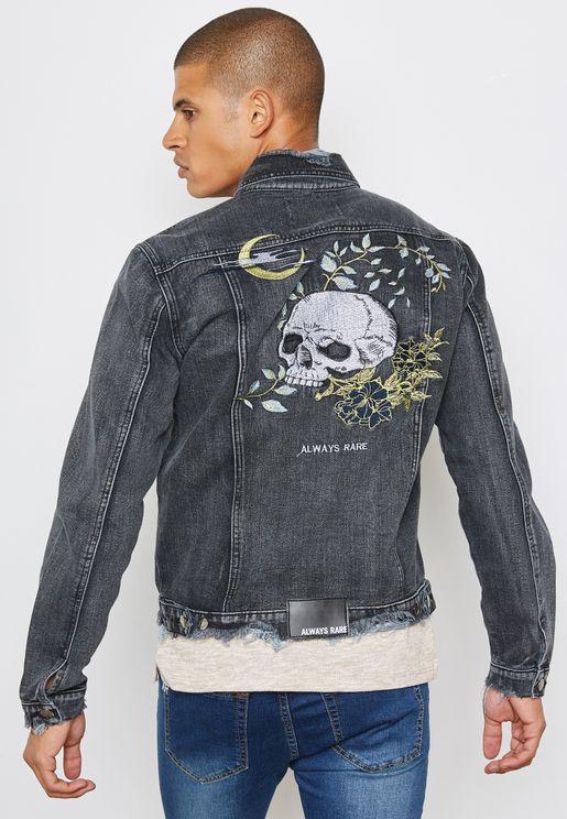 Back skull printed jacket