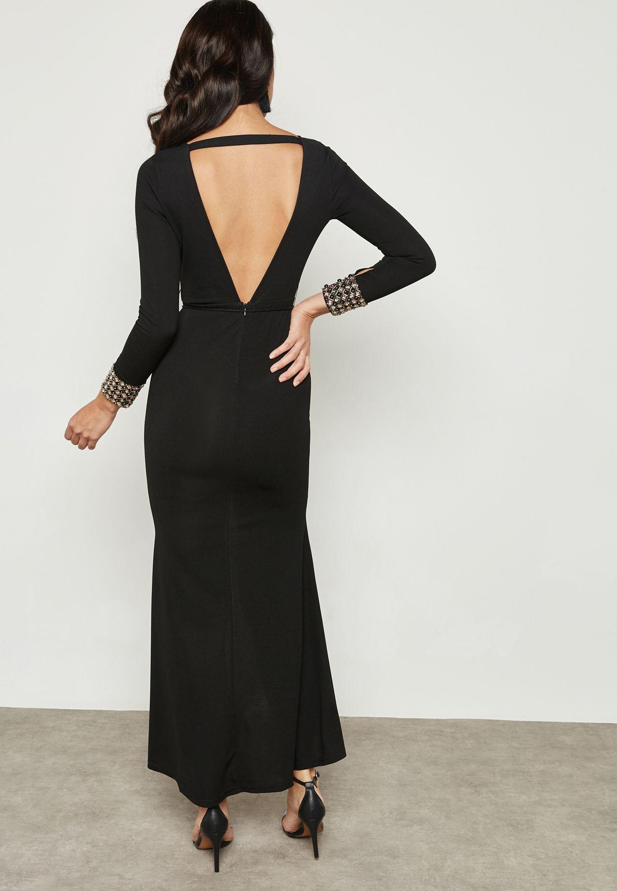 Front Split Cuffed Bodycon Dress