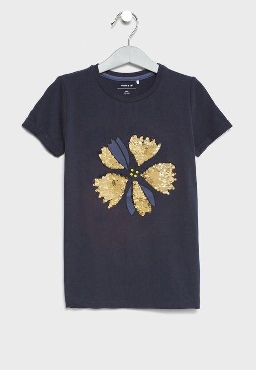 Flower Detail T-Shirt
