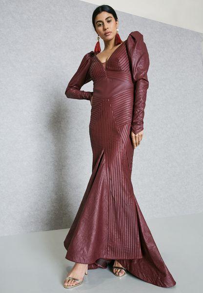 Plunge Neck Fishtail Dress