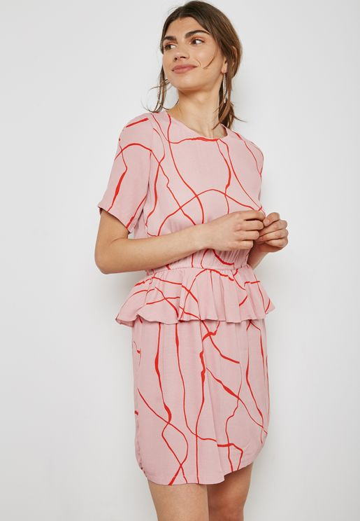Peplum Printed Dress