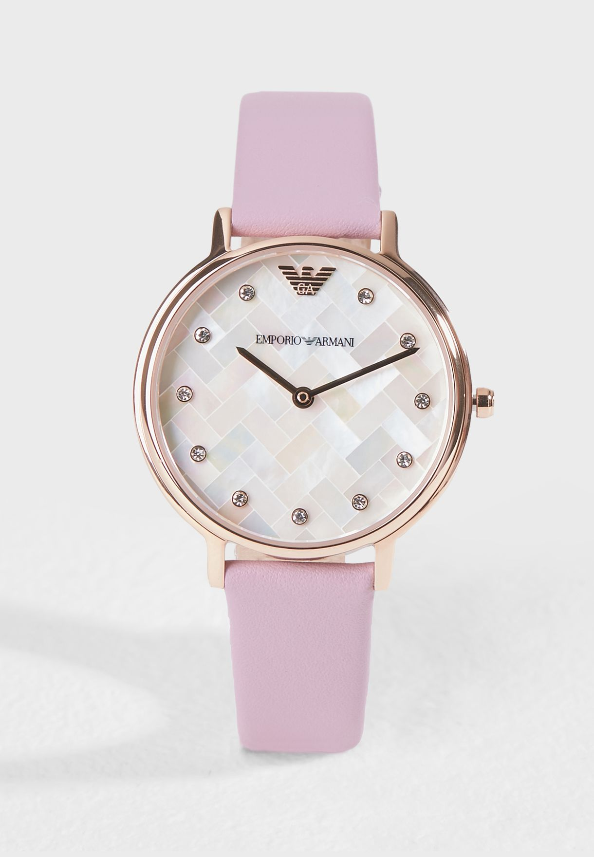 bec28221c تسوق ساعة جلد اصلي ماركة امبريو ارماني لون وردي AR11130 في قطر ...