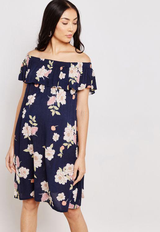 فستان عاري الاكتاف بطبعات ازهار