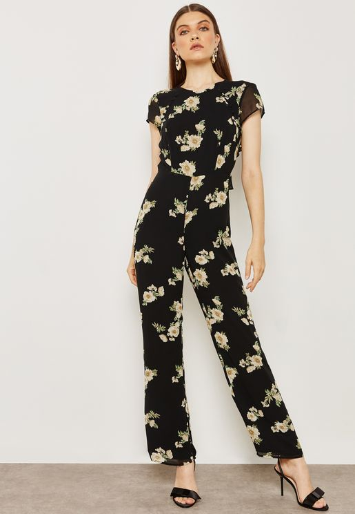 Floral Print Jumpsuit with Open Back