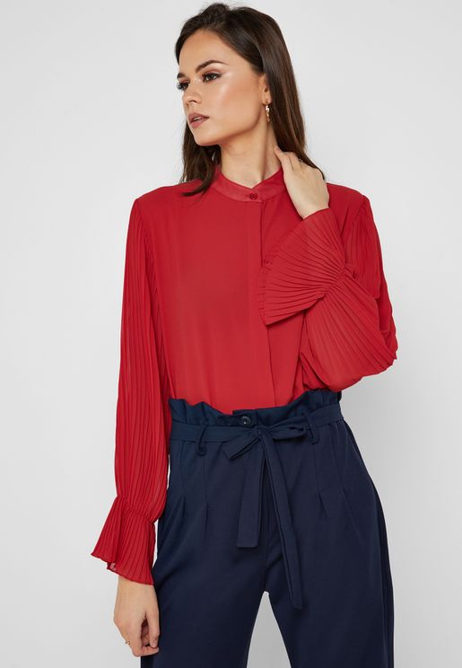 Pleated Sleeve Tunic Shirt