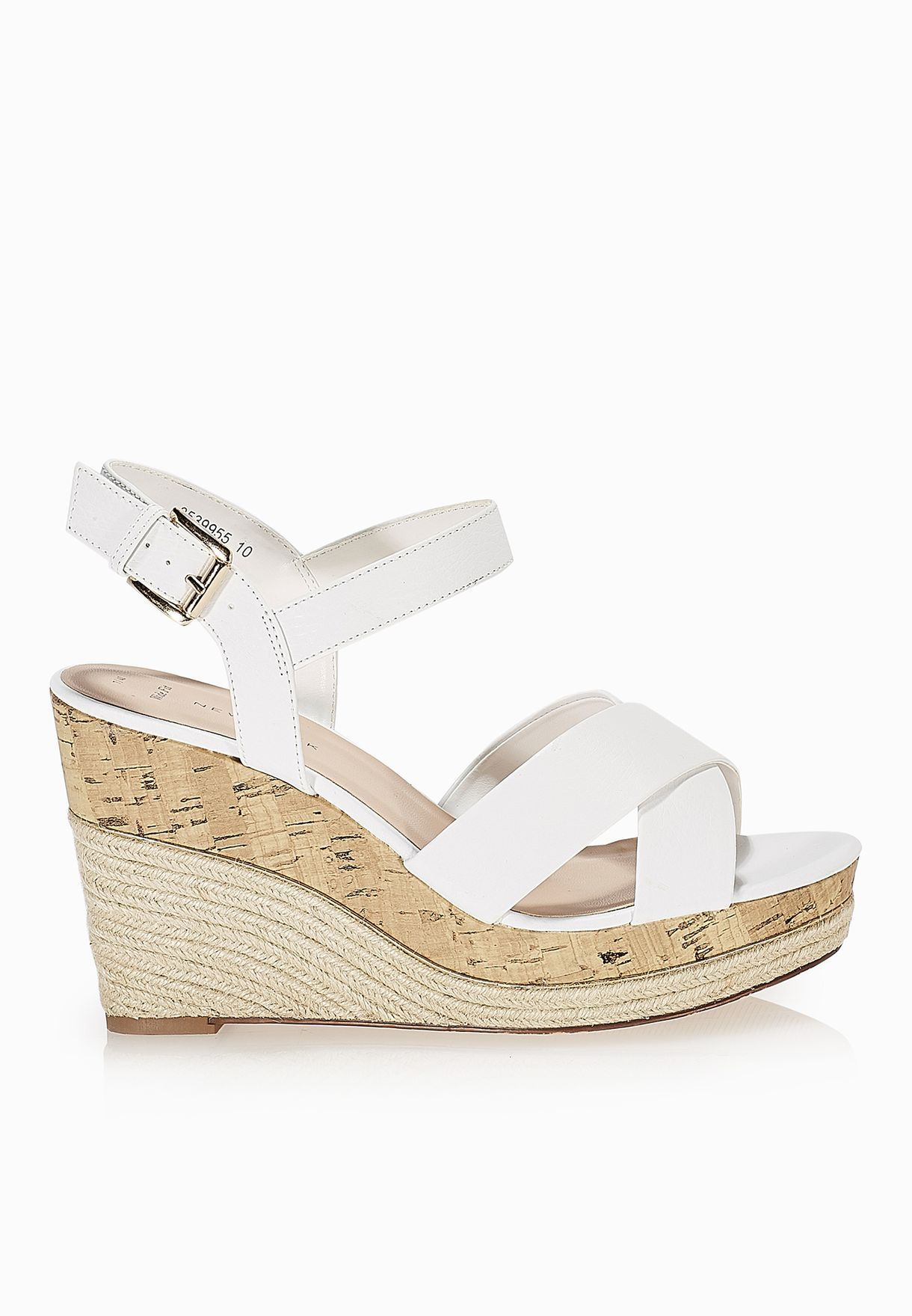 a249f23b2ca Shop New Look white Cross Strap Espadrille Wedge Sandals for Women ...