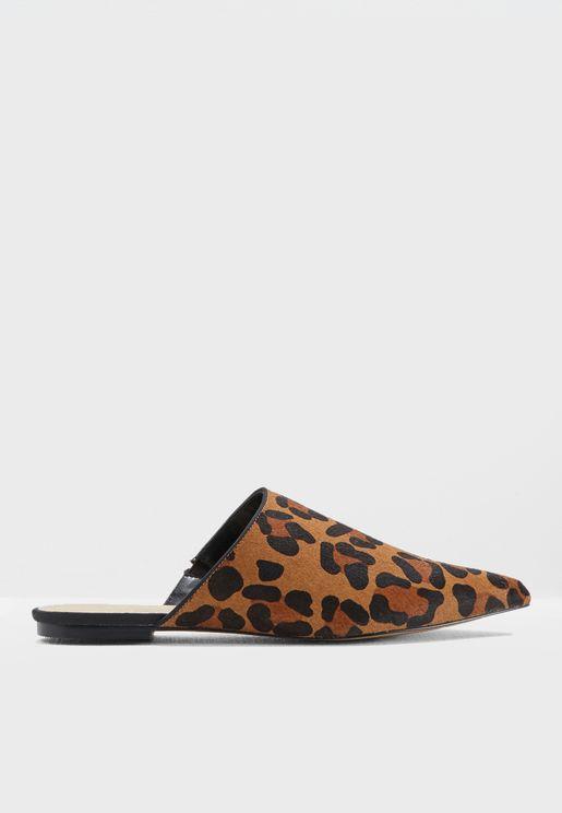 Leopard Print Pony Slip On Mules