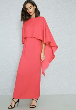 Ruffled Detail Overlay Dress