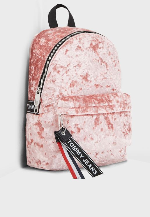 Logo Tape Suede Backpack