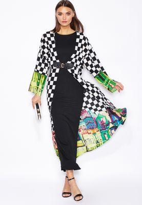 Threadz Printed Buckle Kimono Maxi Dress