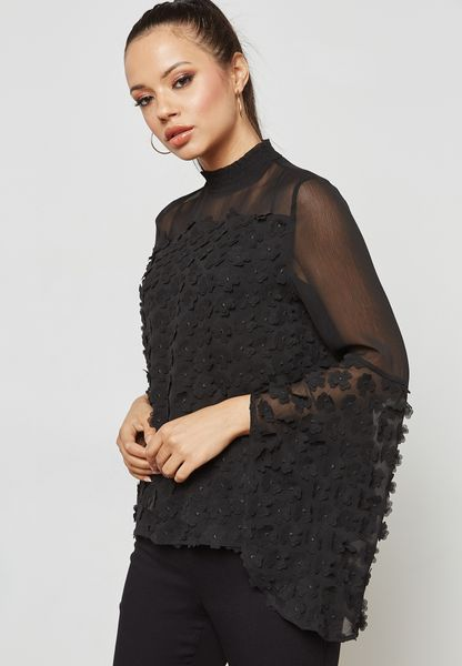 High Neck Mesh Lace Top