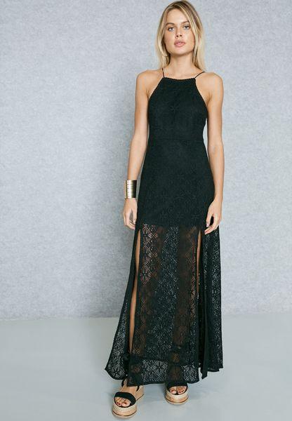 Side Split Lace Maxi Dress