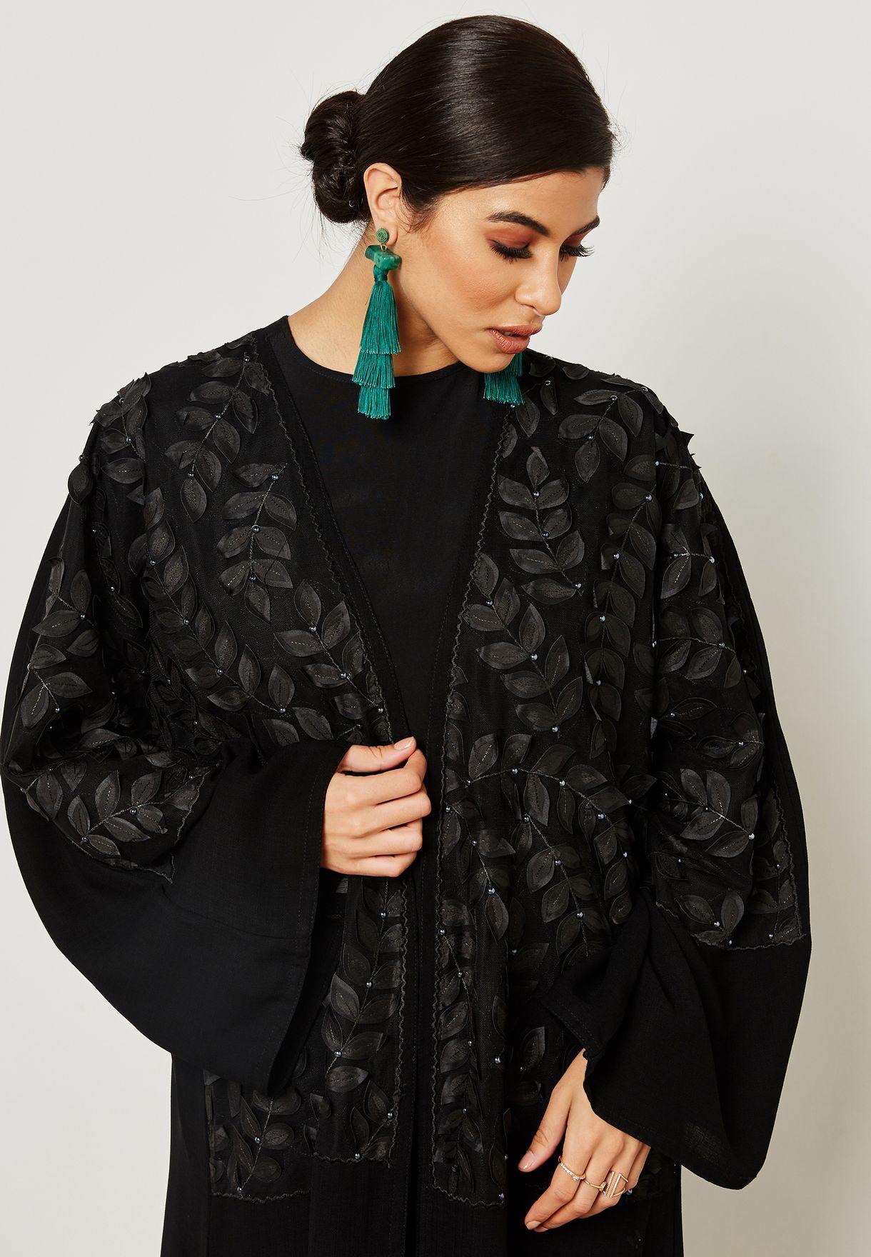 Leaf Laser Cut Front Abaya