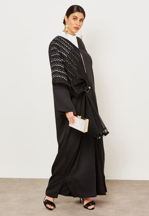 Shawl Look One Side Embroidered Abaya