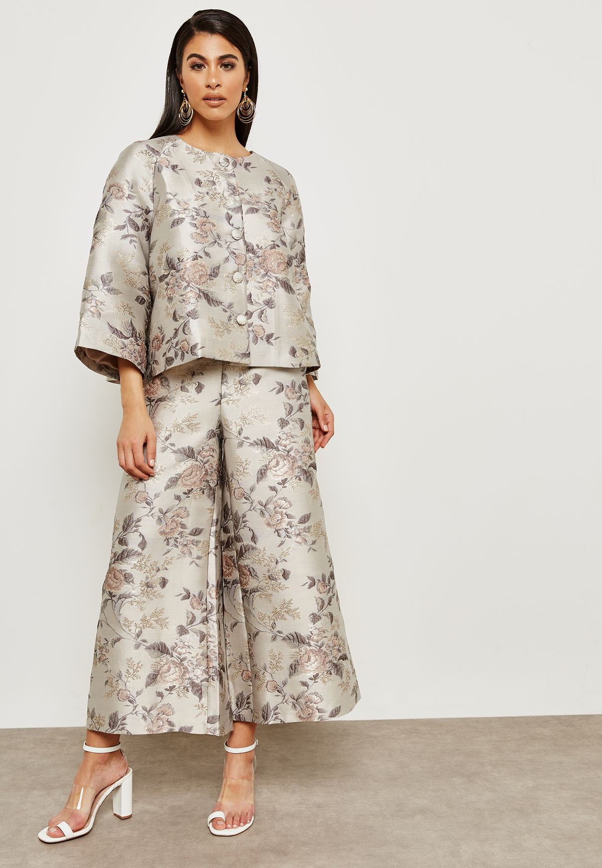 Shop Anotah Prints Floral Print Jacket 18hsjac L80570 For Women In Printed With Sash Belt