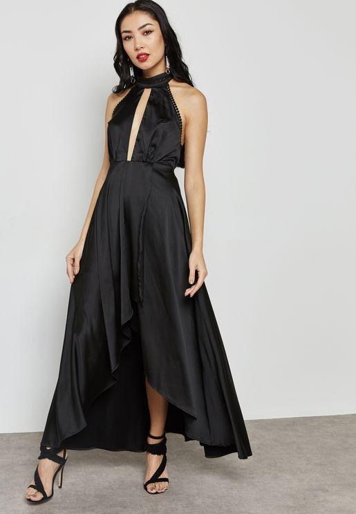 Choker Neck Asymmetric Dress
