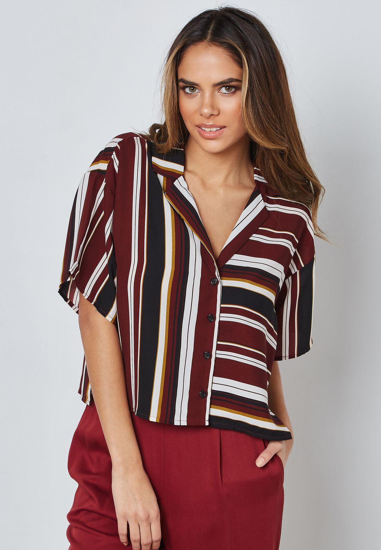 b58dff6115da Shop Forever 21 prints Striped Short Sleeve Shirt 302877 for Women ...