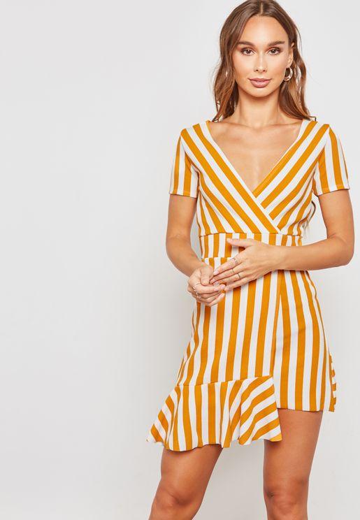 Asymmetric Striped Short Sleeve V-Neck Dress