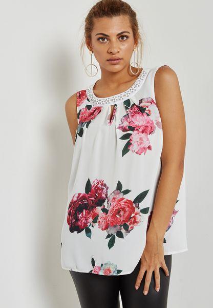 Embellished Neck Floral Print Top