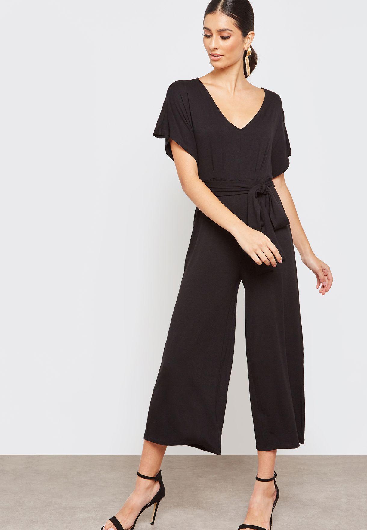 06168bcee1d Shop Forever 21 black Tie Waist V-Neck Jumpsuit 284081 for Women in ...