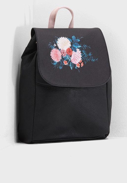 Fold Over Floral Backpack