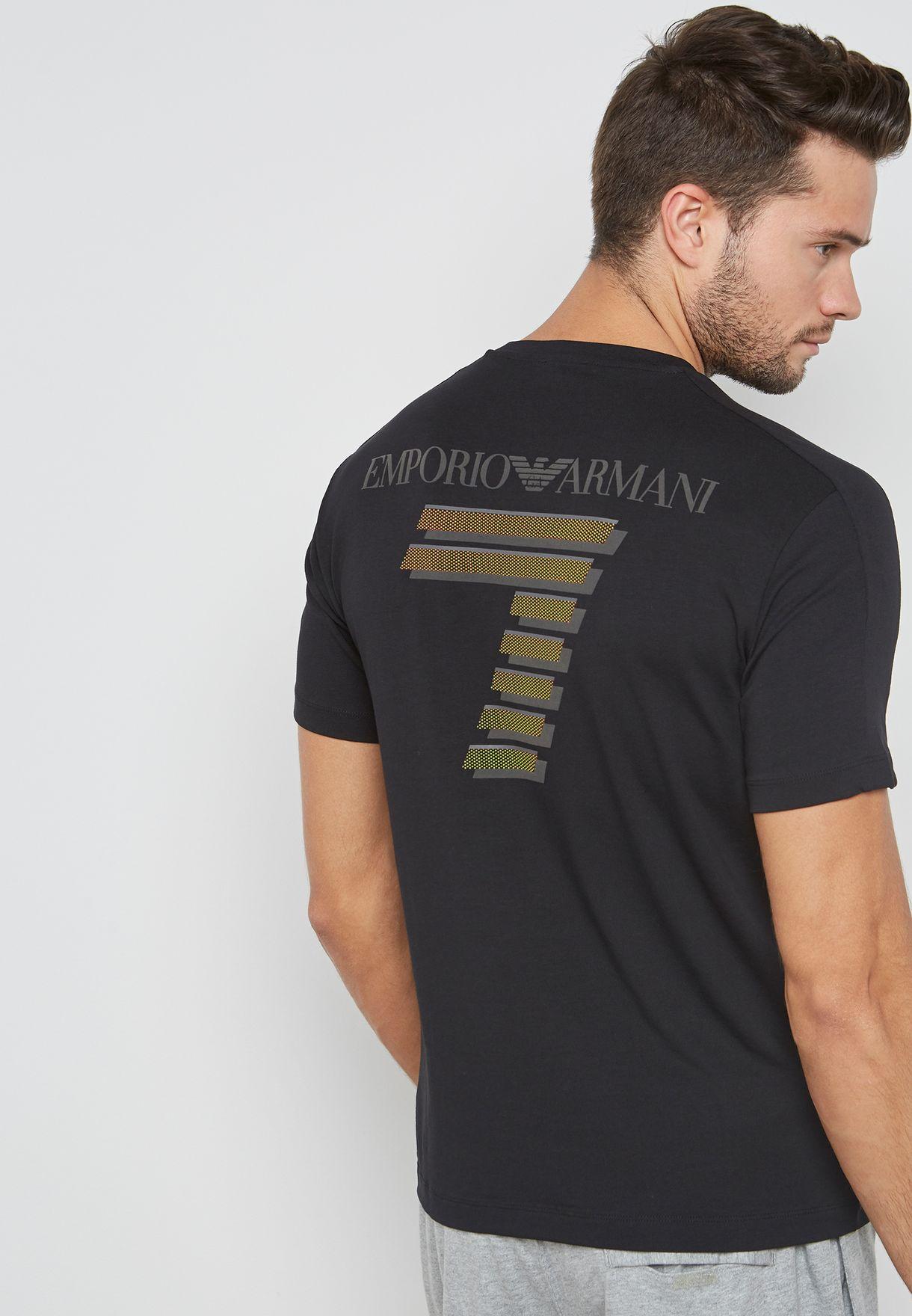 604d302d6c4e Shop Ea7 Emporio Armani black Train Soccer T-Shirt PJ18Z-3ZPT96 ...