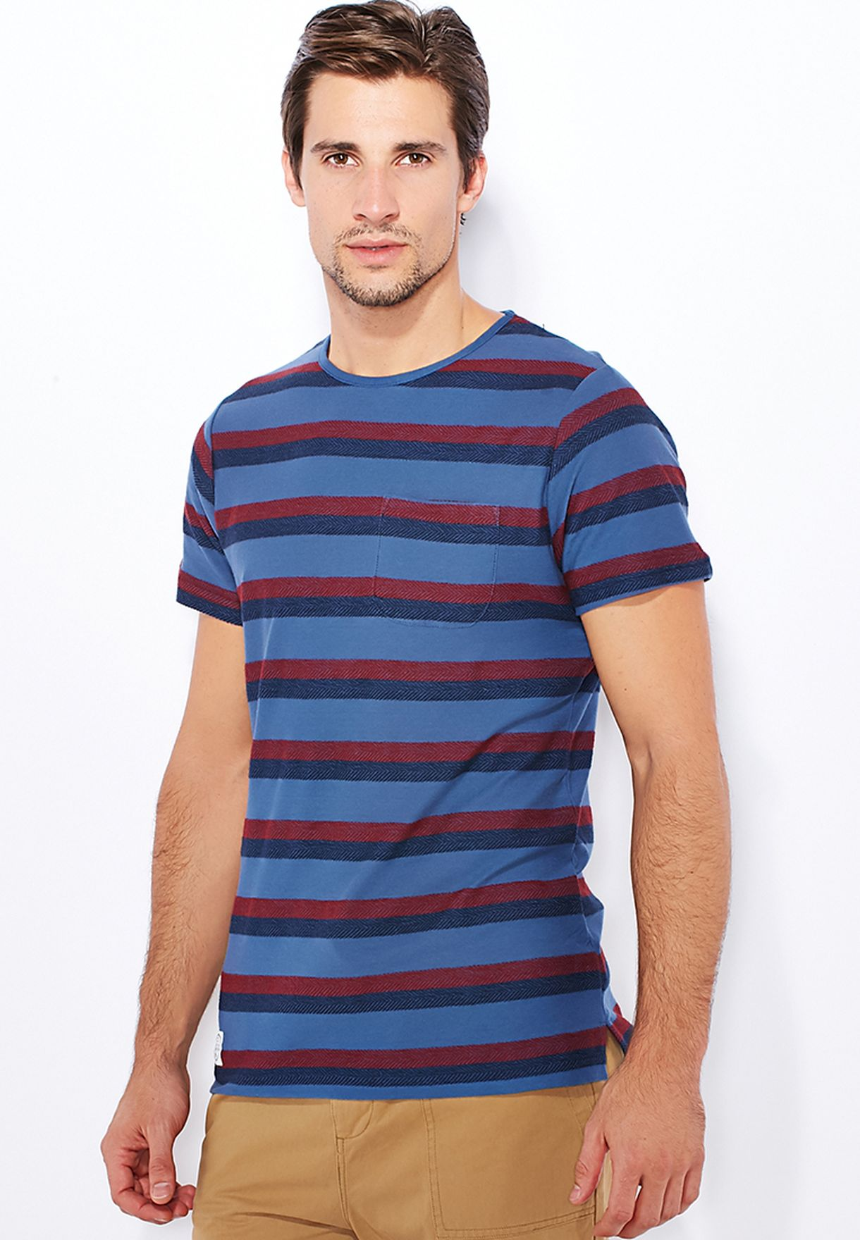 e46a26eba87 Shop Native youth blue Double Herrinbone Striped T-Shirt for Men in ...