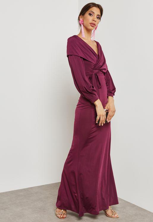 Self Tie Surplice Dress