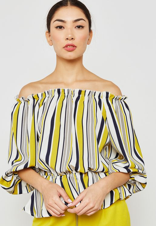 Striped Bardot Peplum Top