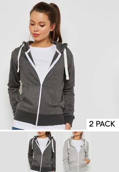 2 Pack Zip Through Hoodie