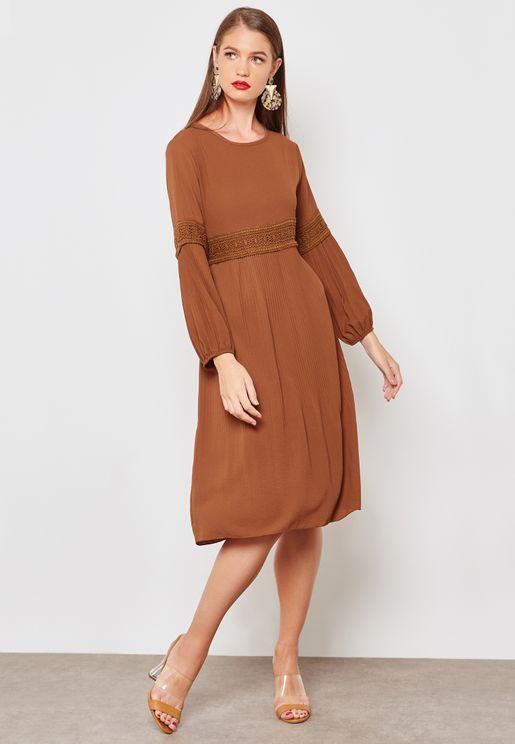 Lace Paneled Pleated Dress