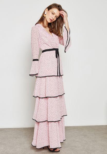 Printed Tiered Ruffle Self Tie Dress