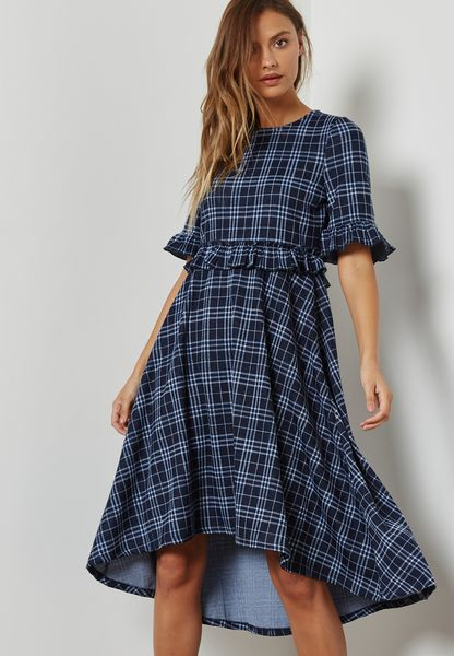 Ruffle Detail High Low Dress