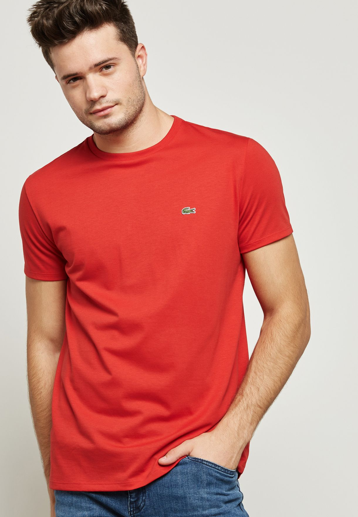ec947899 Shop Lacoste red Essential T-Shirt TH6709-240 for Men in UAE ...
