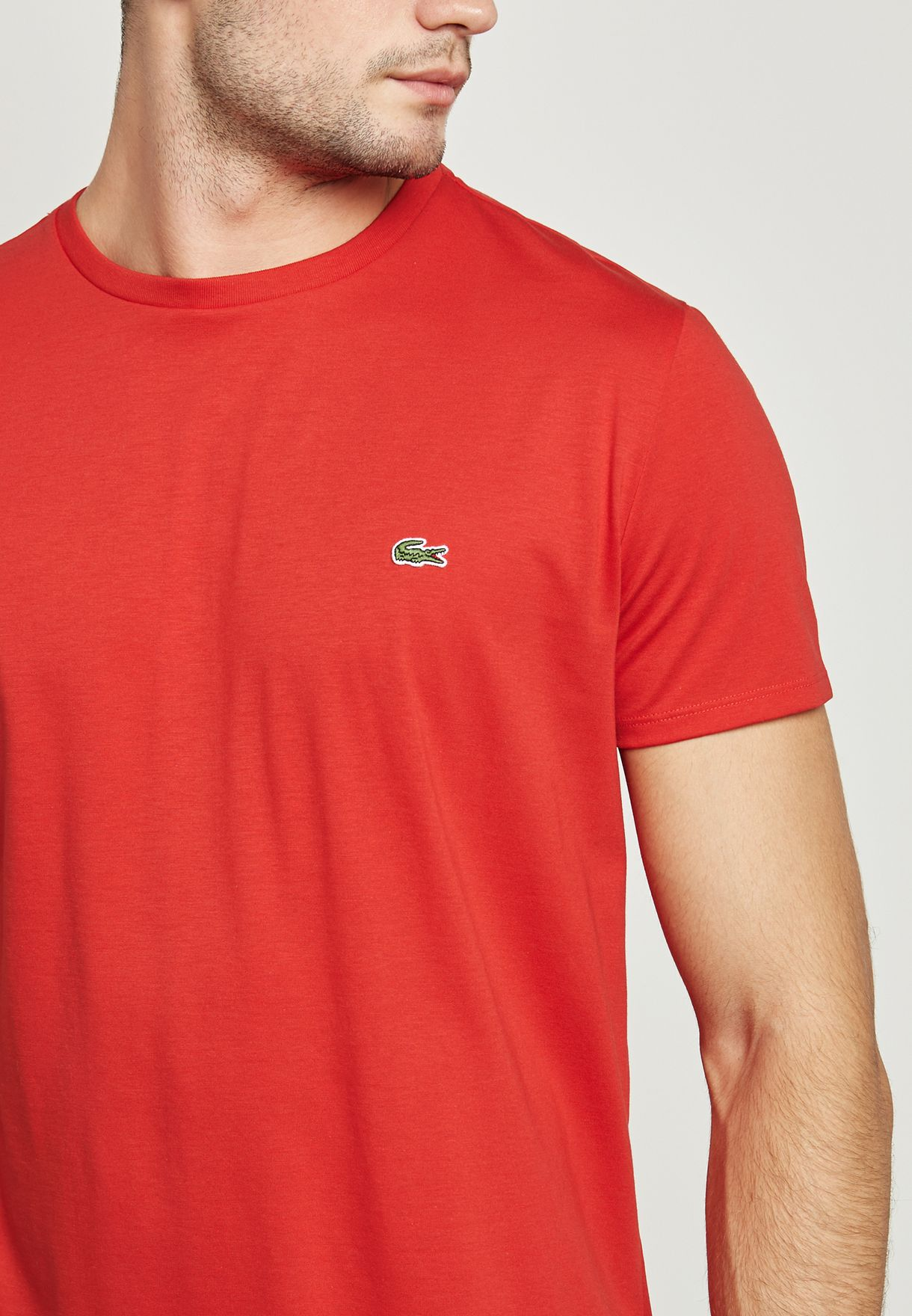 9ba50ec5 Shop Lacoste red Essential T-Shirt TH6709-240 for Men in Kuwait ...