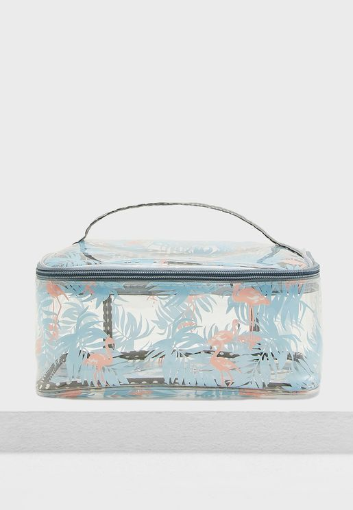 Flamingo Palm Cosmetic Bag