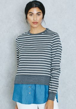 Striped Denim Layered Look Sweater