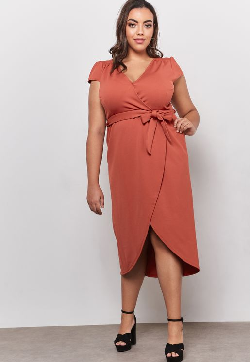 Wrap Short Sleeve V-Neck Dress