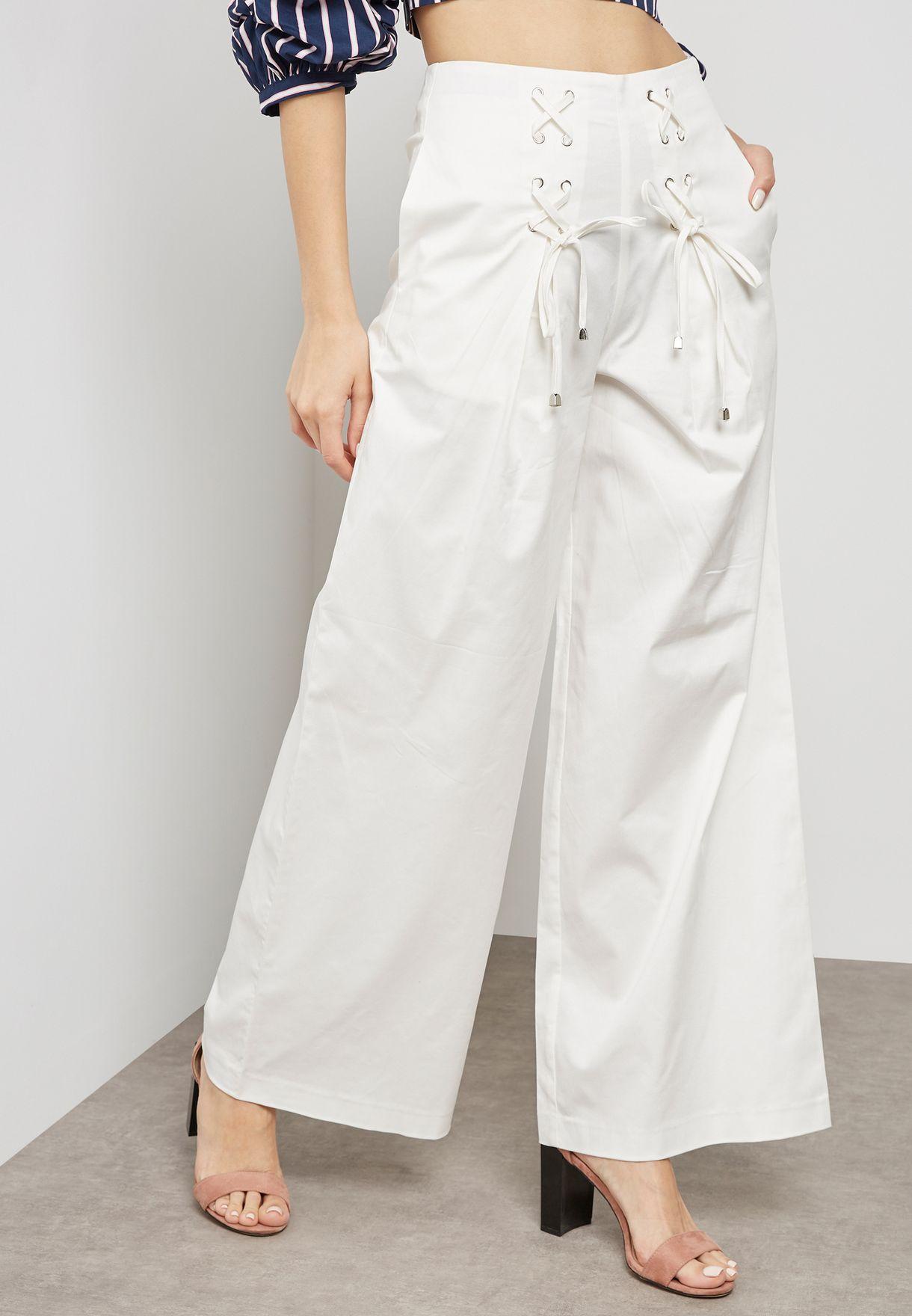 Lace Up Detail Wide Pants