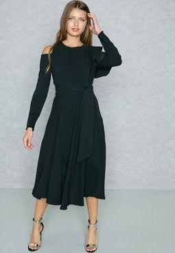 Ruffle One Side Sleeve Self Tie Dress