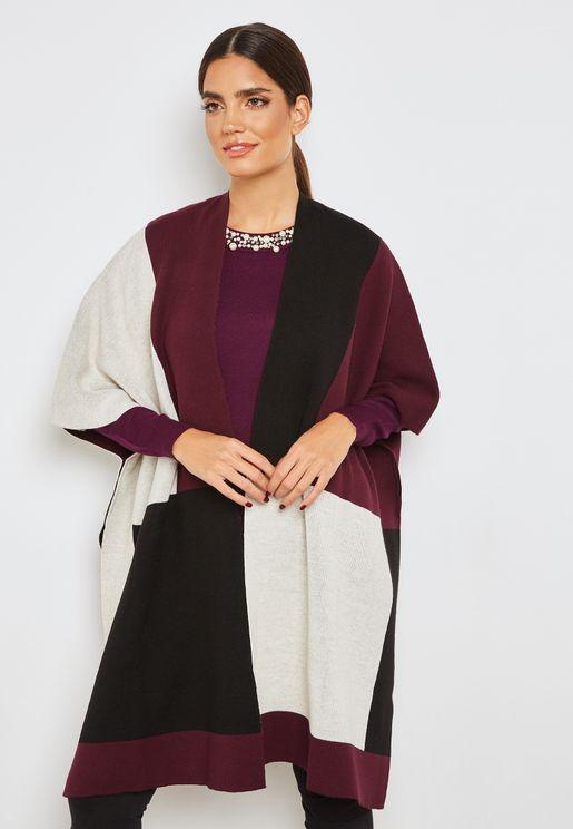 Colorblock Wrap Sweater