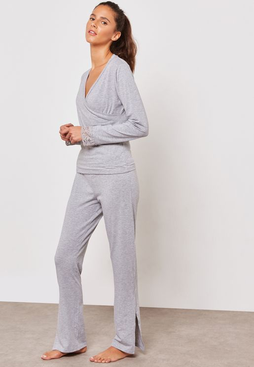 Lace Cuffed Side Slit Pyjama Set