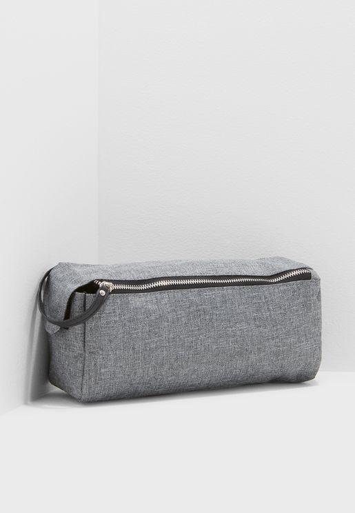Double Zip Crosshatch Washbag