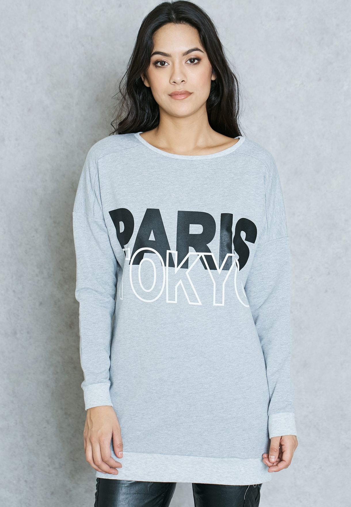 4123efc9adb Shop Ginger grey Slogan Longline Sweatshirt for Women in UAE ...