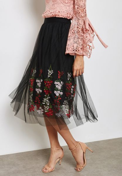 Embroidered Mesh Overlay Skirt