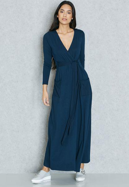 Wrap Front Self Tie Maxi Dress