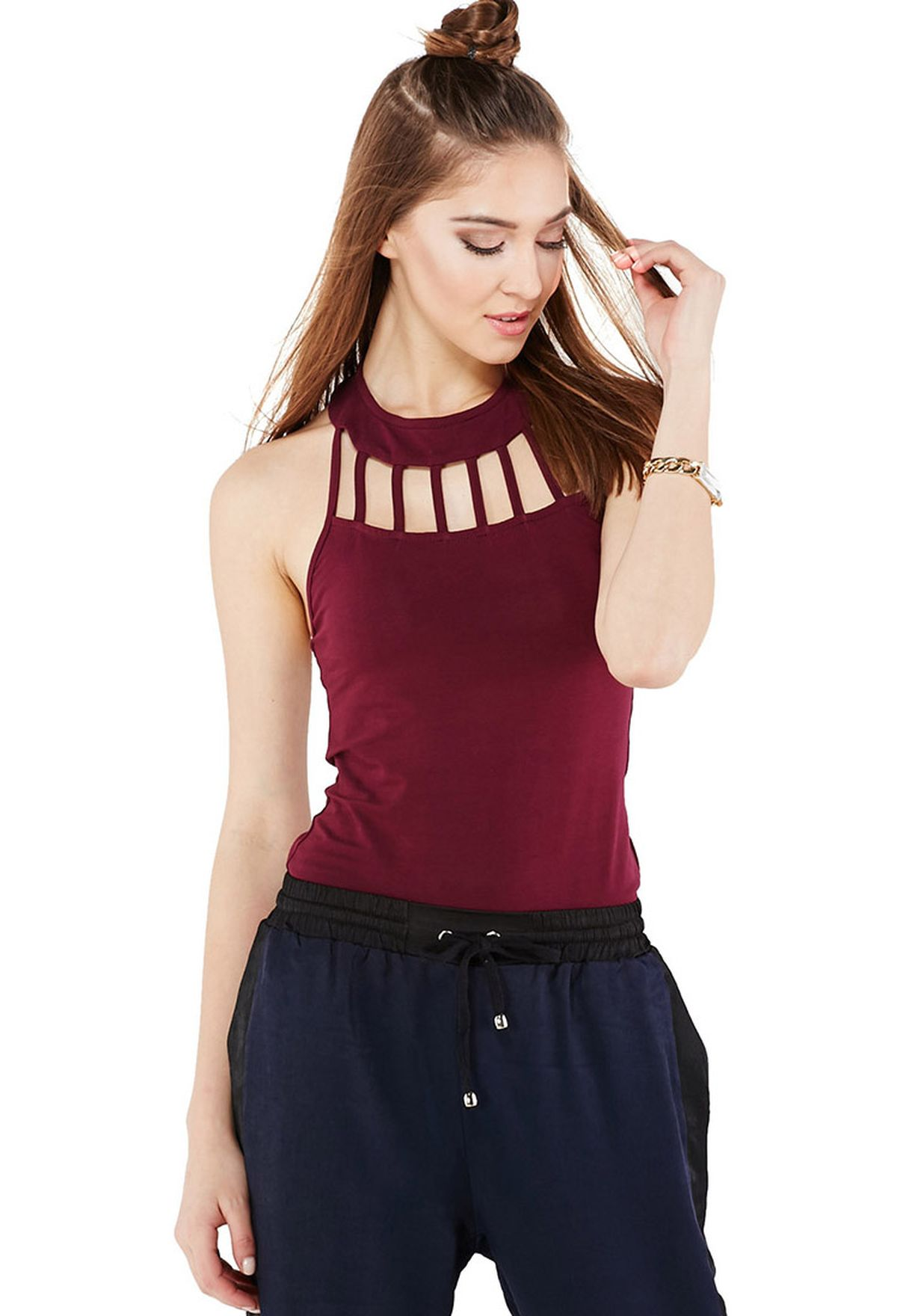 Shop Lily White red Strappy Yoke Bodysuit for Women in Qatar - LI629AT77GHE 94b1cb717